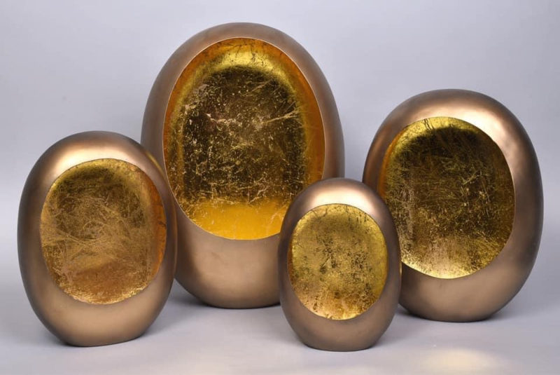 MARRAKECH XL EGG T-LIGHT GOLD 31X14X40CM