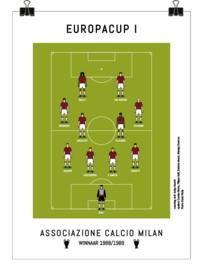 Poster - AC Milan 1989 - rood en zwart