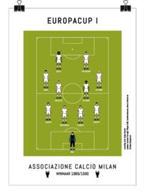 Poster - AC Milan 1990 - wit