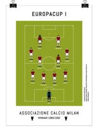 Poster - AC Milan 1990 - rood en zwart