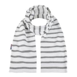 Bretonse sjaal 140x15 cm   Wit - Grijs
