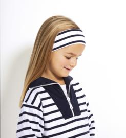 Bretonse streep hoofdband Wit - Marineblauw