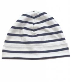 Bretonse streep muts Wit - Marineblauw