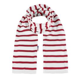 Bretonse sjaal 160x20 cm   Wit - Donkerrood