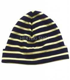 Bretonse streep muts Marineblauw - Geel