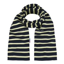 Bretonse sjaal 140x15 cm   Marineblauw - Geel