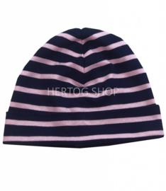 Bretonse streep muts Marineblauw - Roze