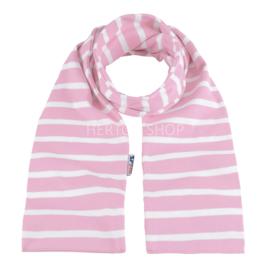 Bretonse sjaal 140x15 cm   Roze - Wit