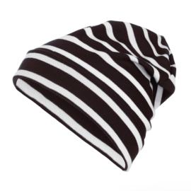 Bretonse streep beanie Zwart - Wit