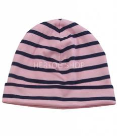 Bretonse streep muts Roze - Marineblauw