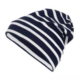 Bretonse streep beanie Marineblauw - Wit