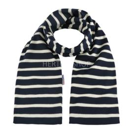Bretonse sjaal 140x15 cm   Marineblauw - Ecru