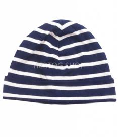 Bretonse streep muts Marineblauw - Wit