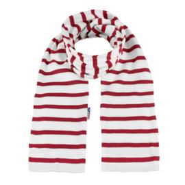 Bretonse sjaal 140x15 cm   Wit - Donkerrood