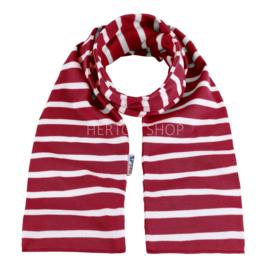 Bretonse sjaal 140x15 cm   Donkerrood - Wit