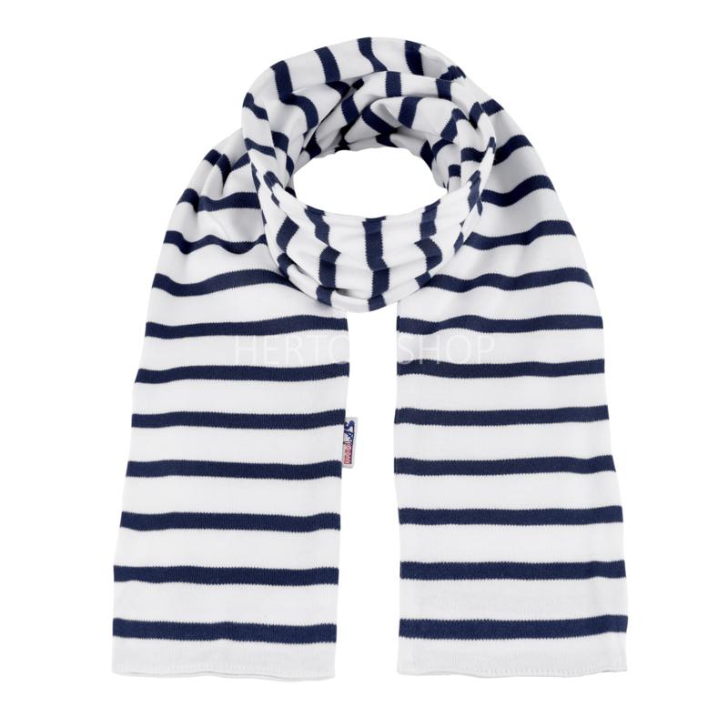 Bretonse kindersjaal Wit - Marineblauw