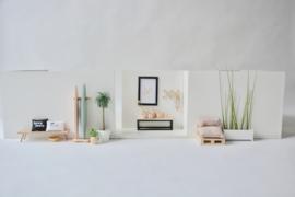 Side table hout en zwart