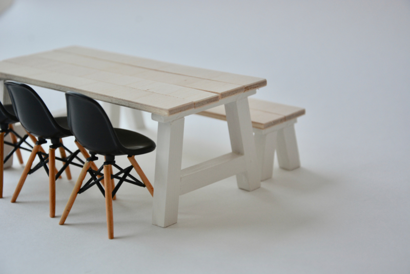 Bankje bij tafel Landelijk model
