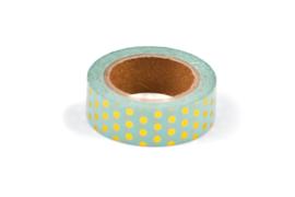 Washi tape mint met gouden stippen