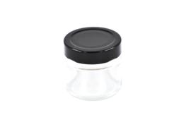 Glazen potje met deksel zwart