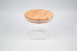 Glazen bokaal houten deksel