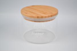 Glazen meterbokaal met houten deksel