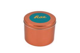 Blikken bewaardoos koper - gepersonaliseerd met ronde sticker