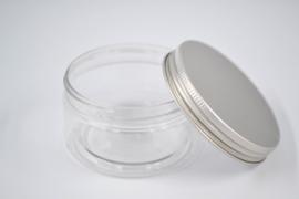 Plexi potje - zilveren deksel