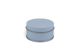 Rond blikken doosje zachtblauw