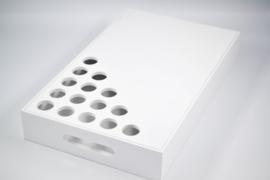 Houten dienblad wit voor plexi of glazen proefbuisjes