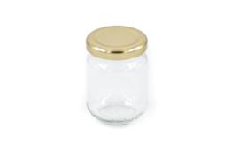 Glazen potje met deksel blinkend goud