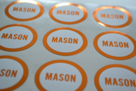 Stickers rond 40mm - koperen omranding
