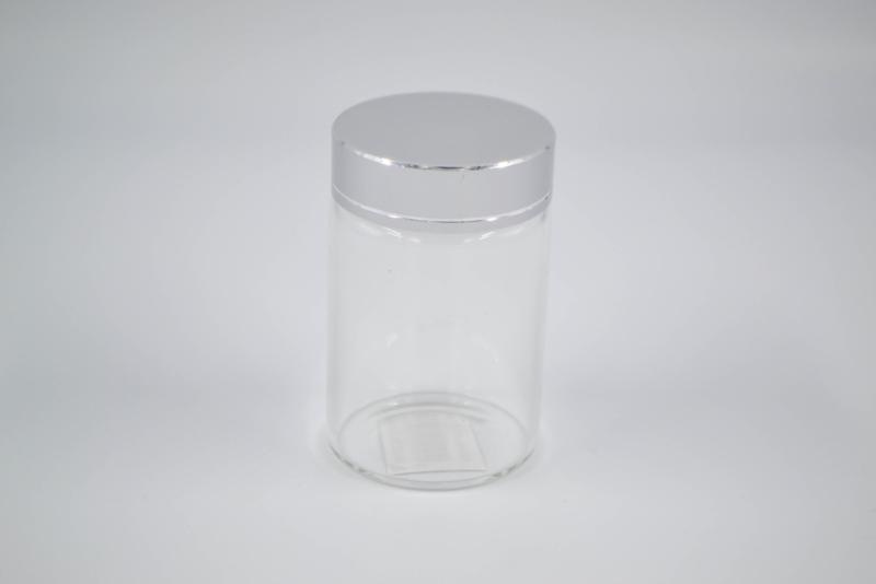 Glazen potje elegant hoog met deksel zilver