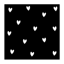 Mini-kaart Hartjes zwart wit