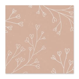 Mini-kaart Bloemetjes roze