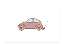 Ansichtkaart Auto roze