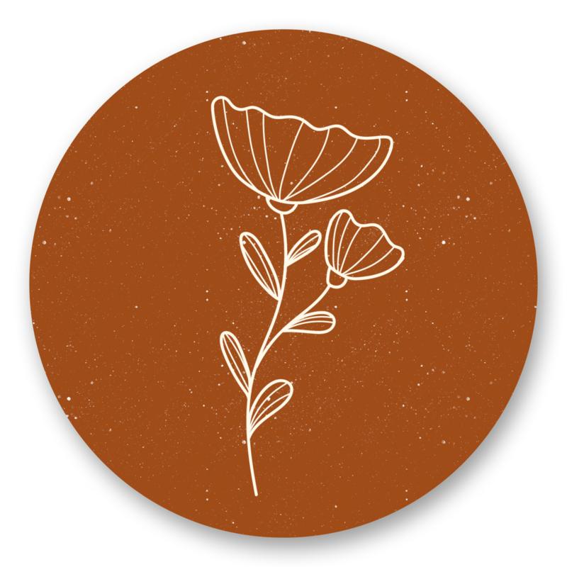 Sticker Bloem roest | 10 stuks
