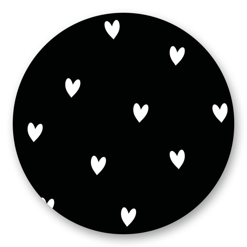 Sticker Hartjes zwart wit | 10 stuks