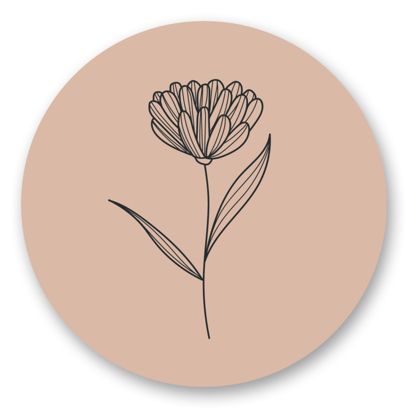 Sticker Bloem nude | 10 stuks