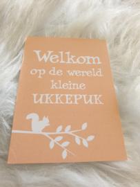 Cadeaukaart ''Welkom op de wereld kleine ukkepuk''