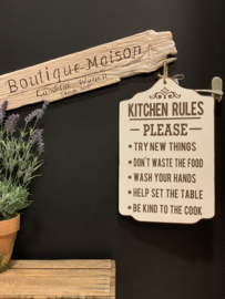 Tekstbord 'Kitchen Rules...'