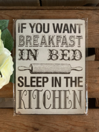 Nostalgisch Bordje 'If You Want Breakfast...'