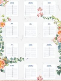 Verjaardag Kalender 'Flowers'
