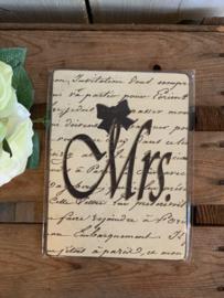 Nostalgisch Bordje 'Mrs.'