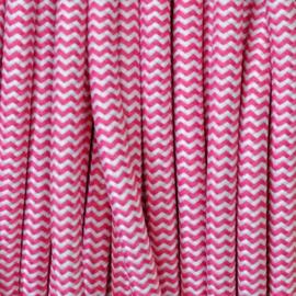 Snoer roze/wit zigzag
