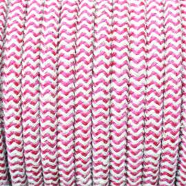 Snoer bordeaux/linnen zigzag