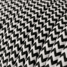 Snoer zwart/wit zigzag (50m)