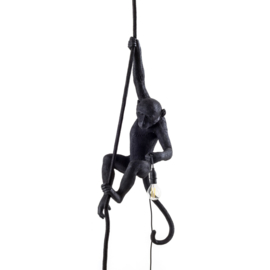 Seletti - Monkey lamp aan touw zwart