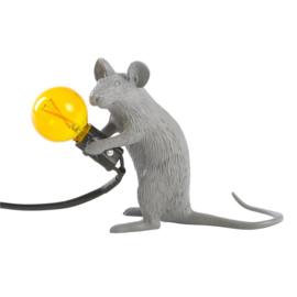 Mouse lamp zittend grijs