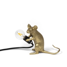 Mouse lamp zittend goud